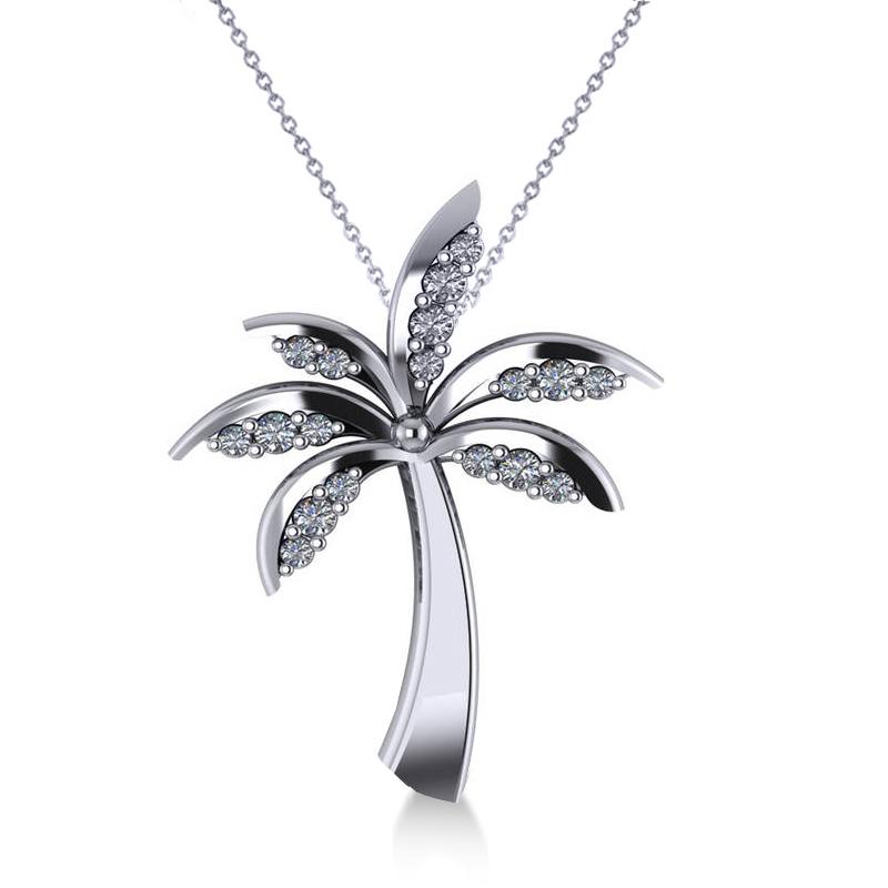 Diamond Summer Palm Tree Pendant Necklace 14k White Gold (0.24ct)