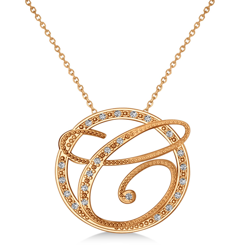 diamond circle script initials pendant necklace 14k rose. Black Bedroom Furniture Sets. Home Design Ideas