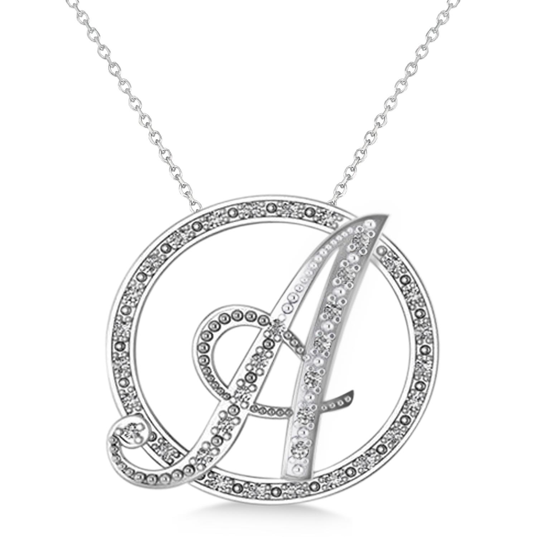 diamond circle script initials pendant necklace 14k white. Black Bedroom Furniture Sets. Home Design Ideas