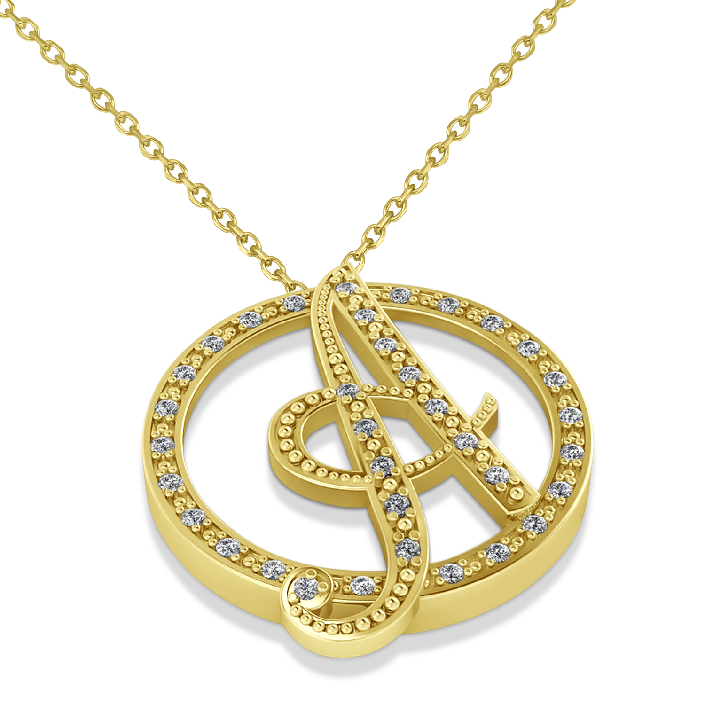 diamond circle script initials pendant necklace 14k yellow. Black Bedroom Furniture Sets. Home Design Ideas