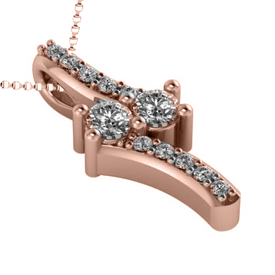 Diamond Two Stone Pendant Necklace 14k Rose Gold (0.15ct)