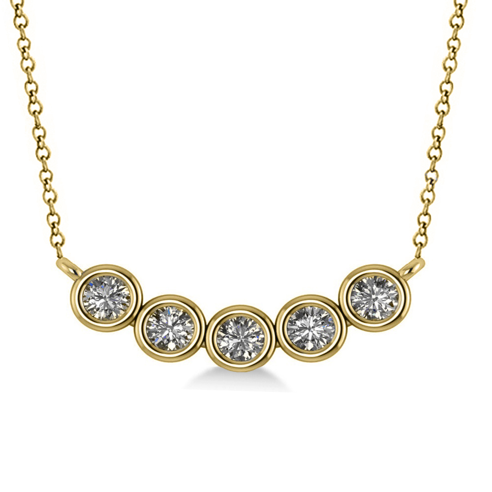 Bezel-set Five-Stone Diamond Pendant Necklace 14k Yellow Gold (0.25ct)