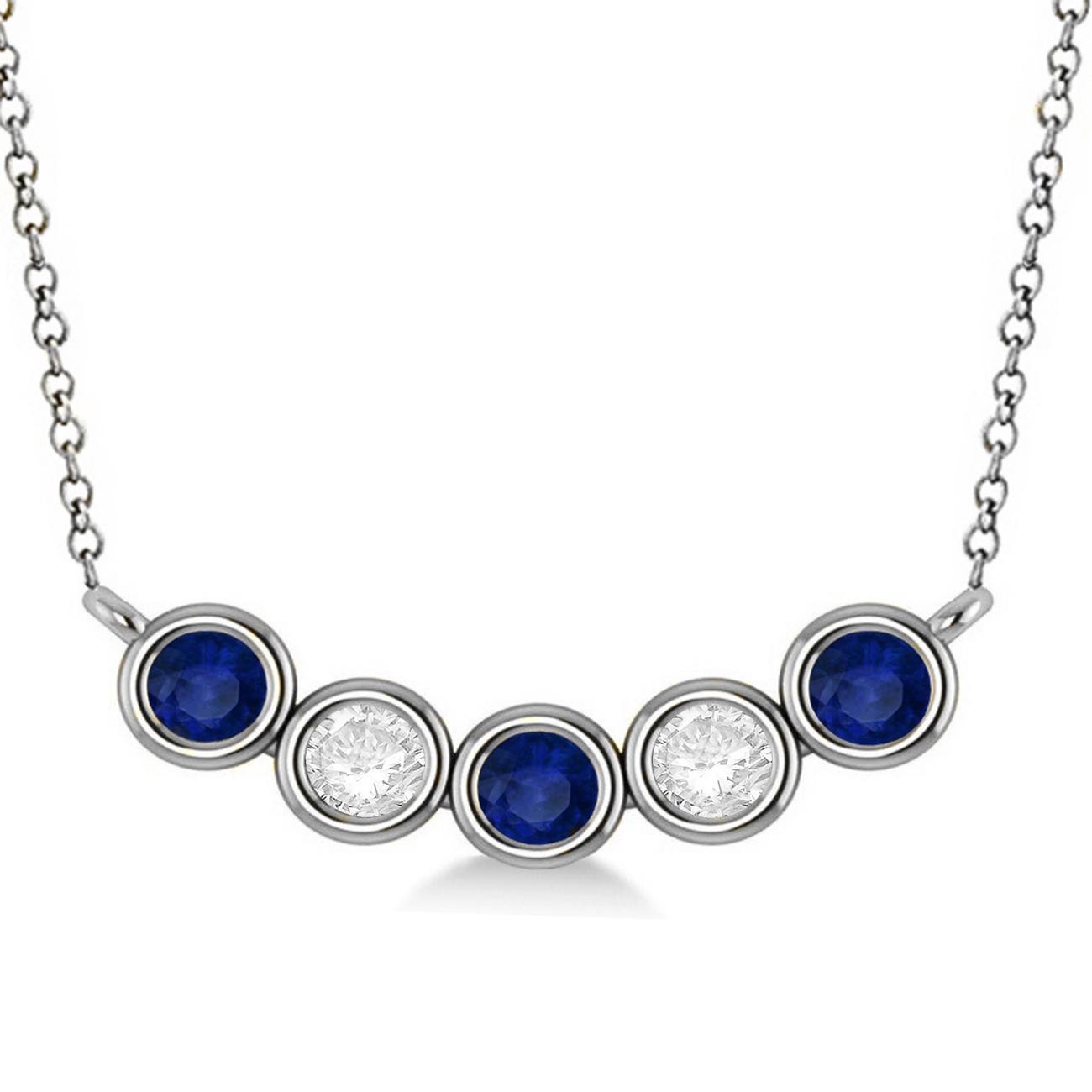 diamond amp blue sapphire 5stone pendant necklace 14k white