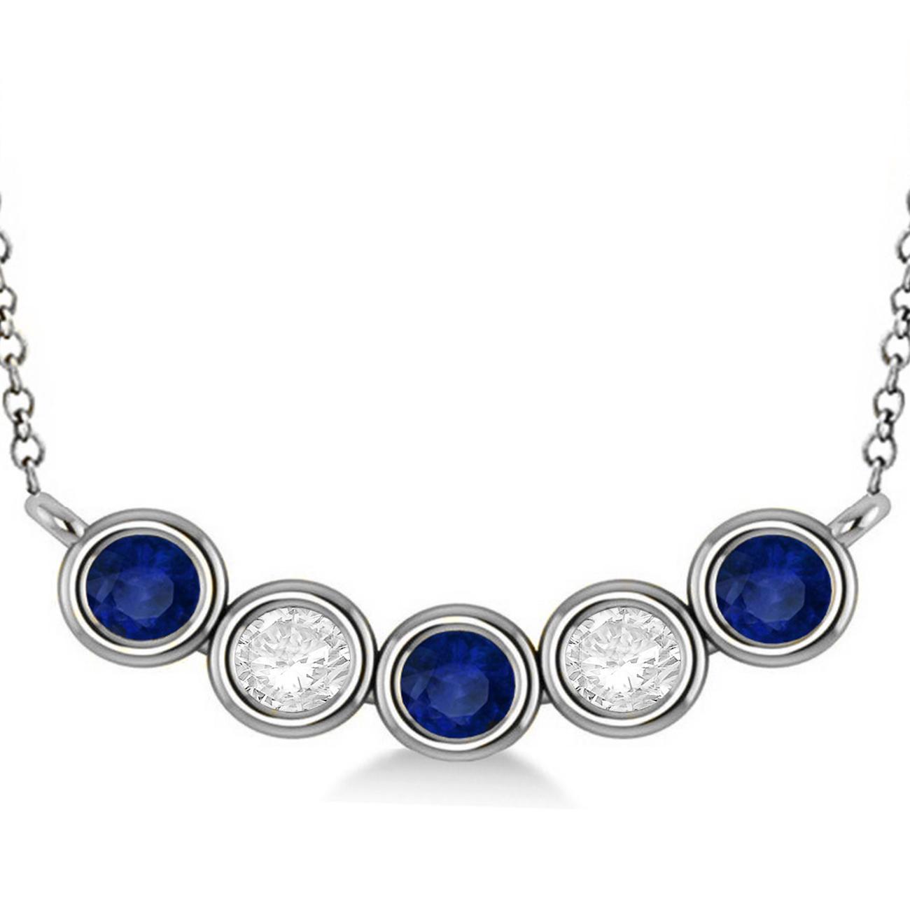 Diamond & Blue Sapphire 5-Stone Pendant Necklace 14k White Gold 2.00ct