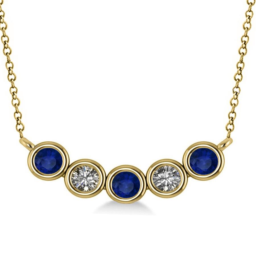 diamond blue sapphire 5 stone pendant necklace 14k. Black Bedroom Furniture Sets. Home Design Ideas