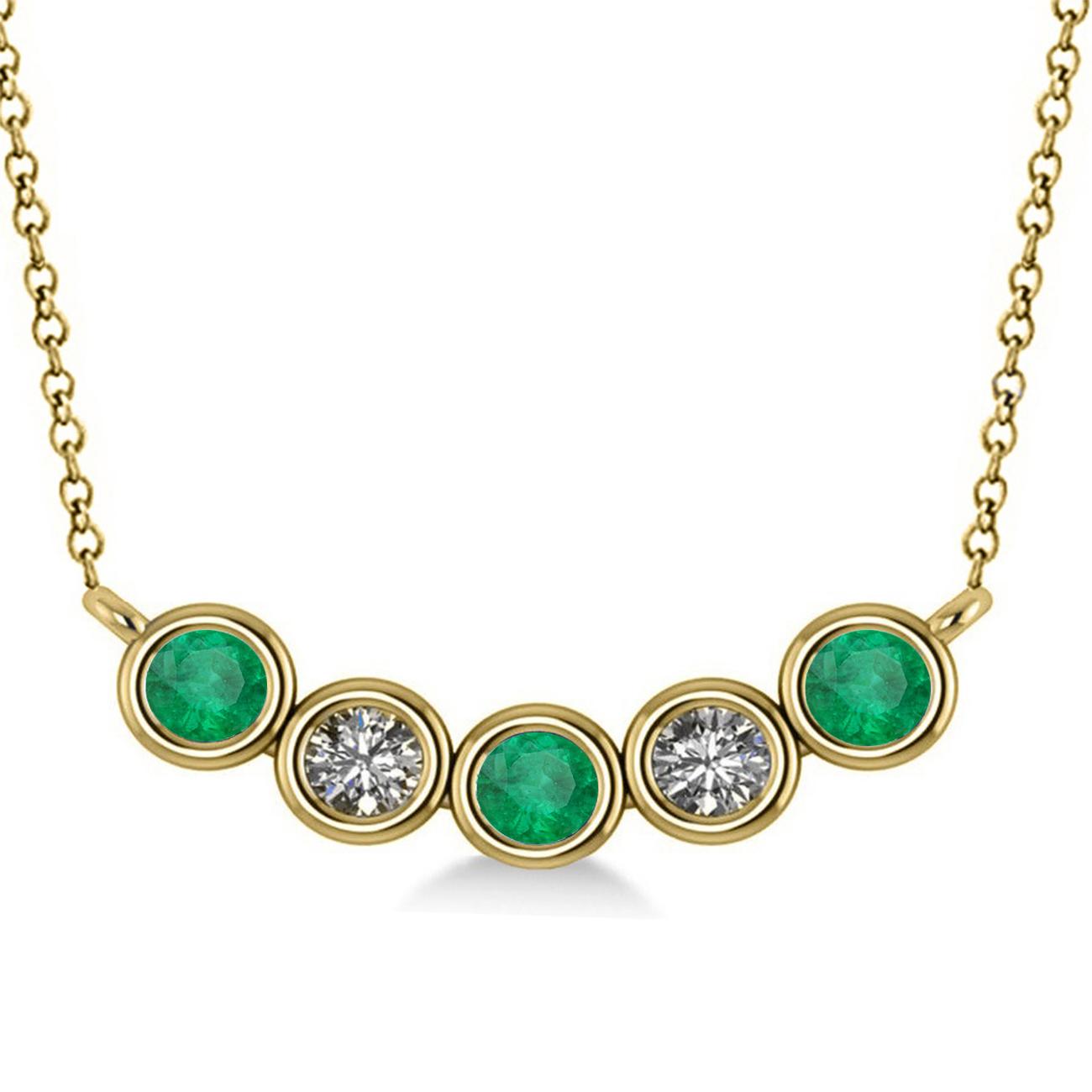 Diamond & Emerald 5-Stone Pendant Necklace 14k Yellow Gold ... - photo#4