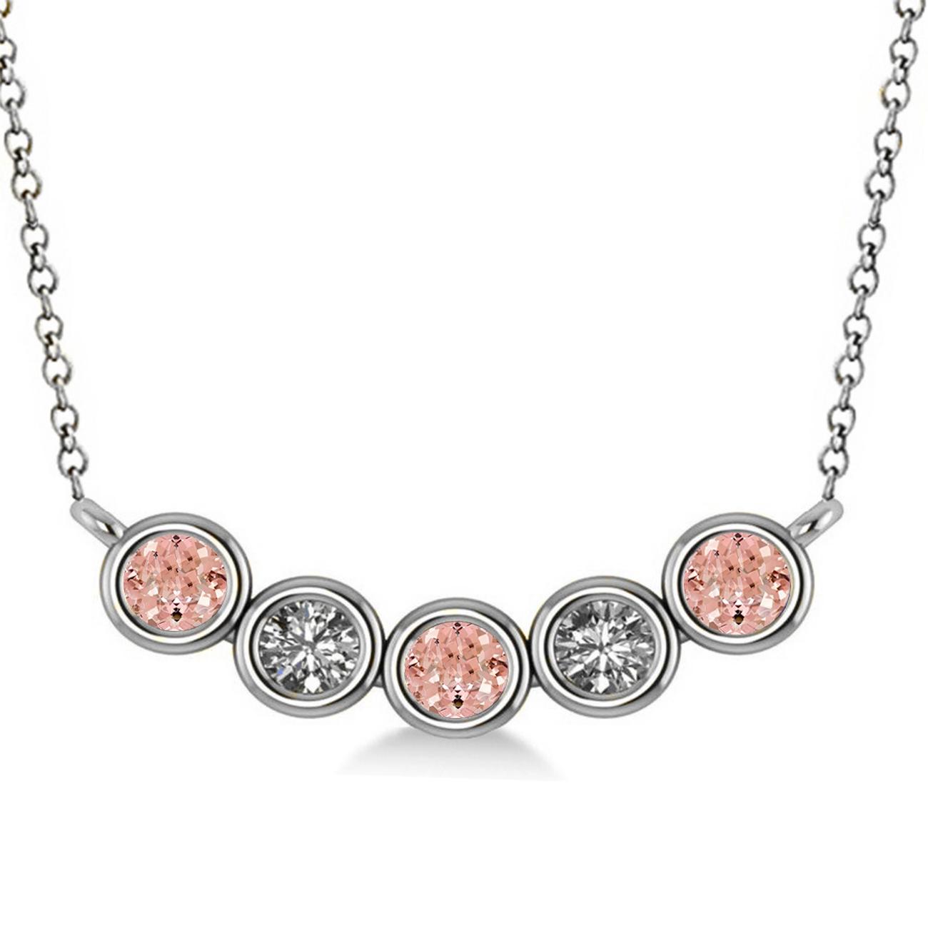Diamond & Morganite 5-Stone Pendant Necklace 14k White Gold 0.25ct