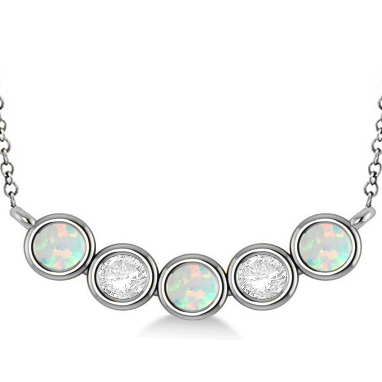 Diamond & Opal 5-Stone Pendant Necklace 14k White Gold 2.00ct