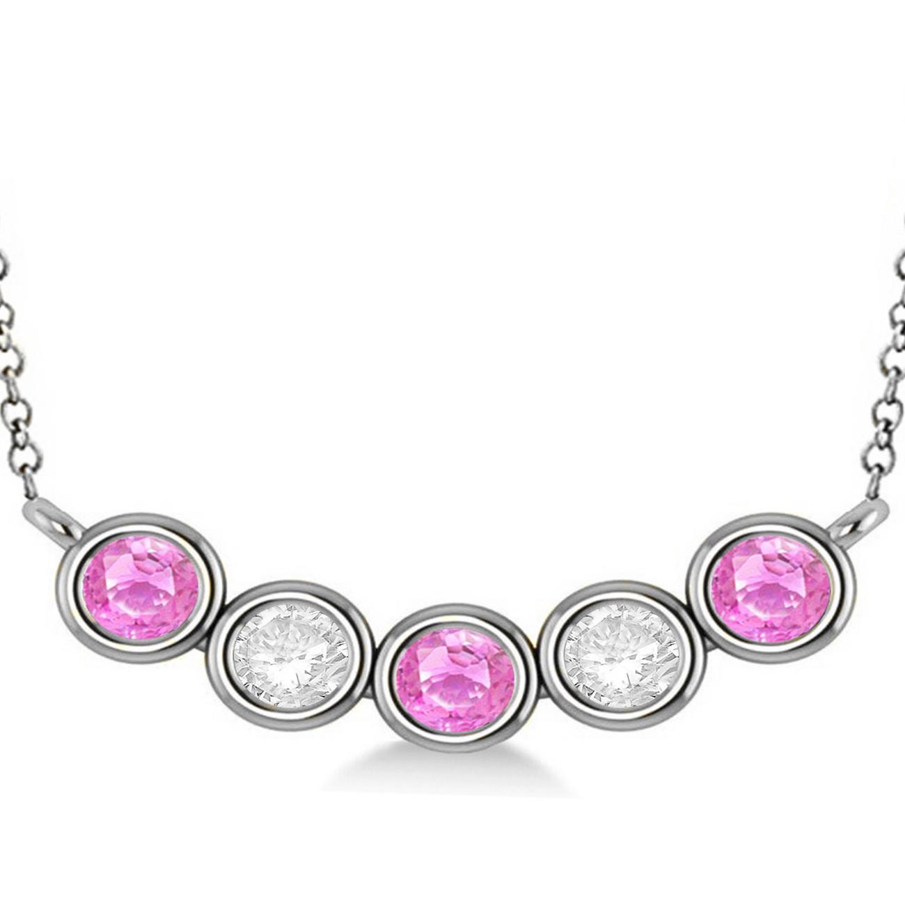 e1633e03c59fcf Diamond & Pink Sapphire 5-Stone Pendant Necklace 14k White Gold 2ct - AD3744