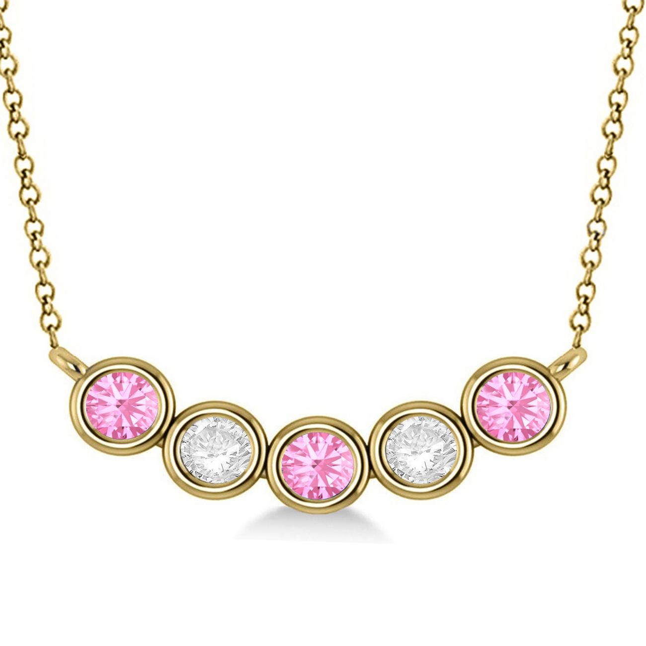 diamond pink tourmaline 5 stone pendant necklace 14k. Black Bedroom Furniture Sets. Home Design Ideas