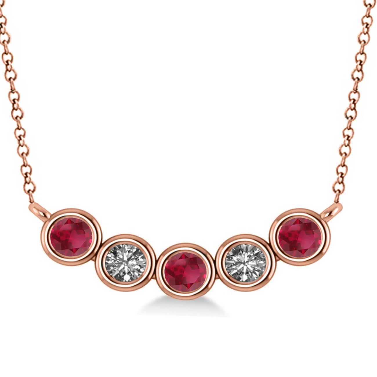 diamond amp ruby 5stone pendant necklace 14k rose gold 0