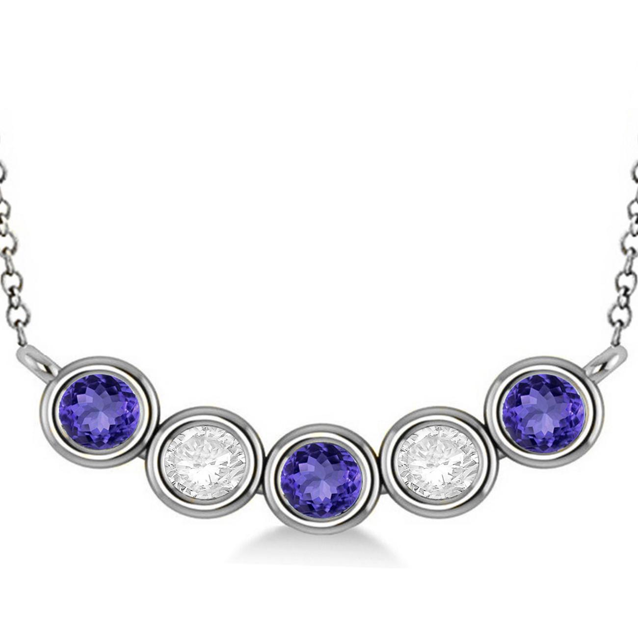 800df08ec68415 Diamond & Tanzanite 5-Stone Pendant Necklace 14k White Gold 2ct - AD3753