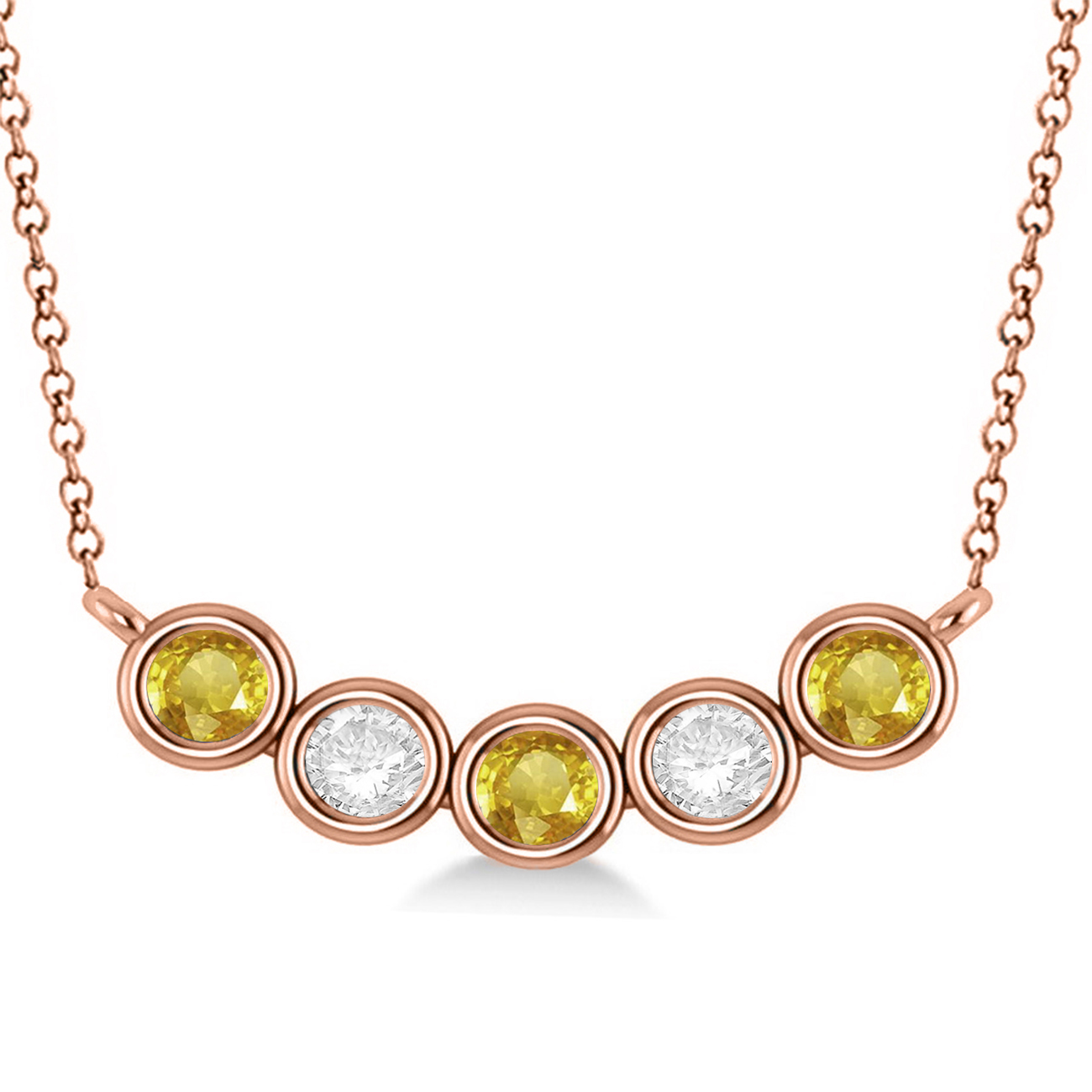 diamond amp yellow sapphire 5stone pendant necklace 14k