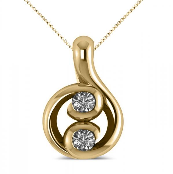 Diamond Two Stone Pendant Necklace 14k Yellow Gold (0.16ct)
