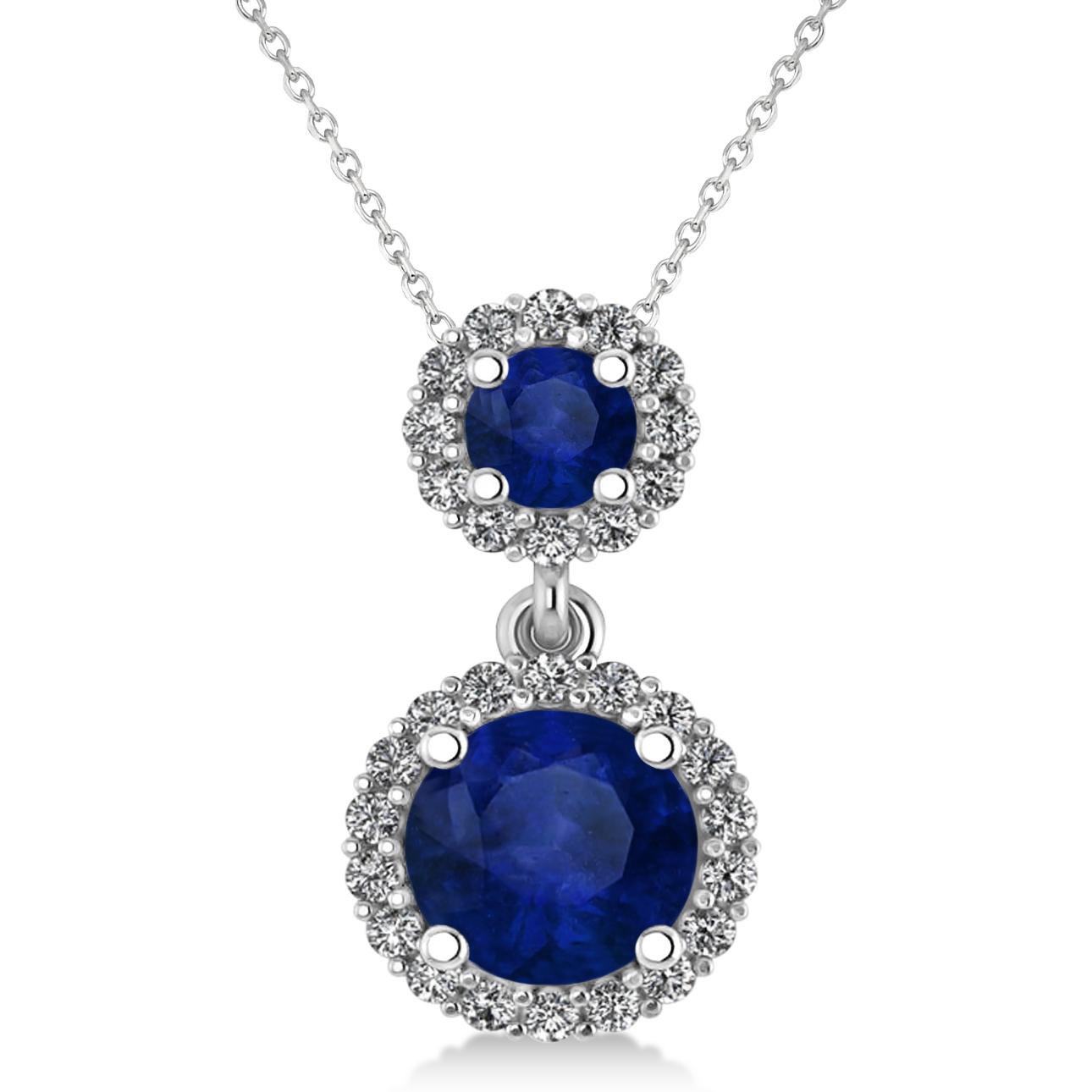 Two Stone Blue Sapphire & Halo Diamond Necklace 14k White Gold (1.50ct)