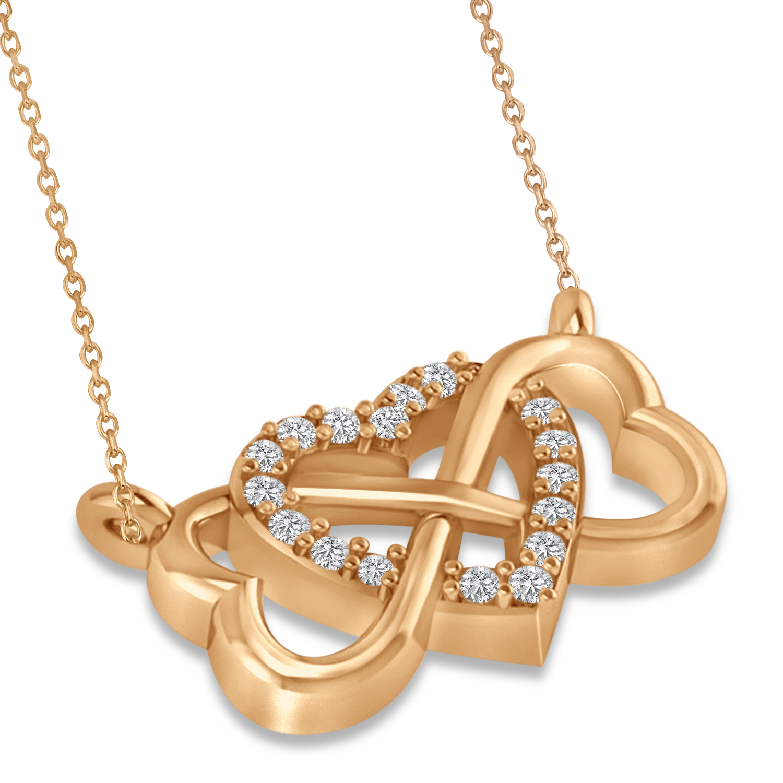 infinity heart diamond pendant necklace 14k rose gold 0. Black Bedroom Furniture Sets. Home Design Ideas