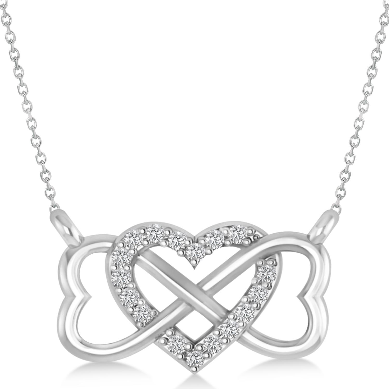 infinity amp heart diamond pendant necklace 14k white gold 0