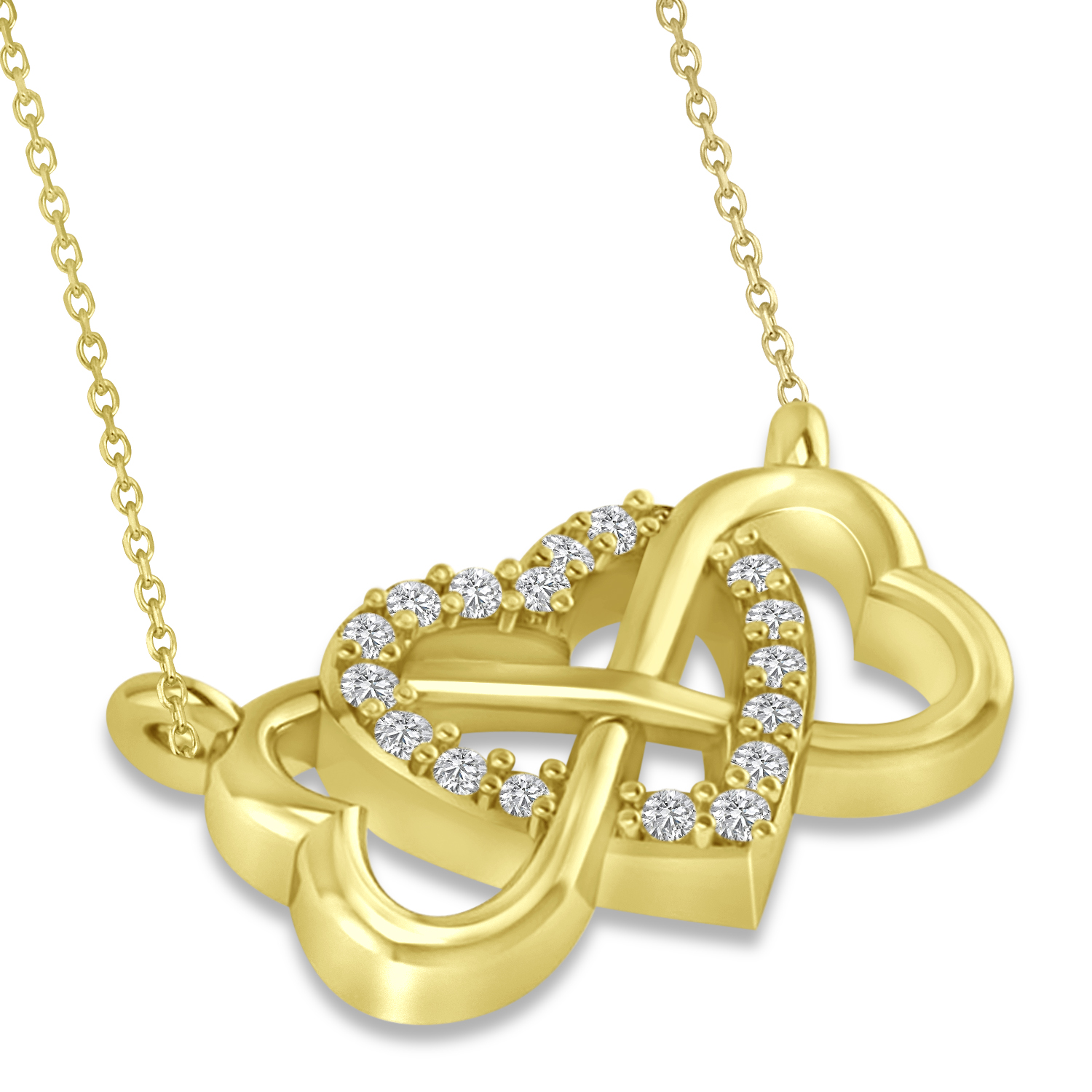 Infinity & Heart Diamond Pendant Necklace 14k Yellow Gold ...