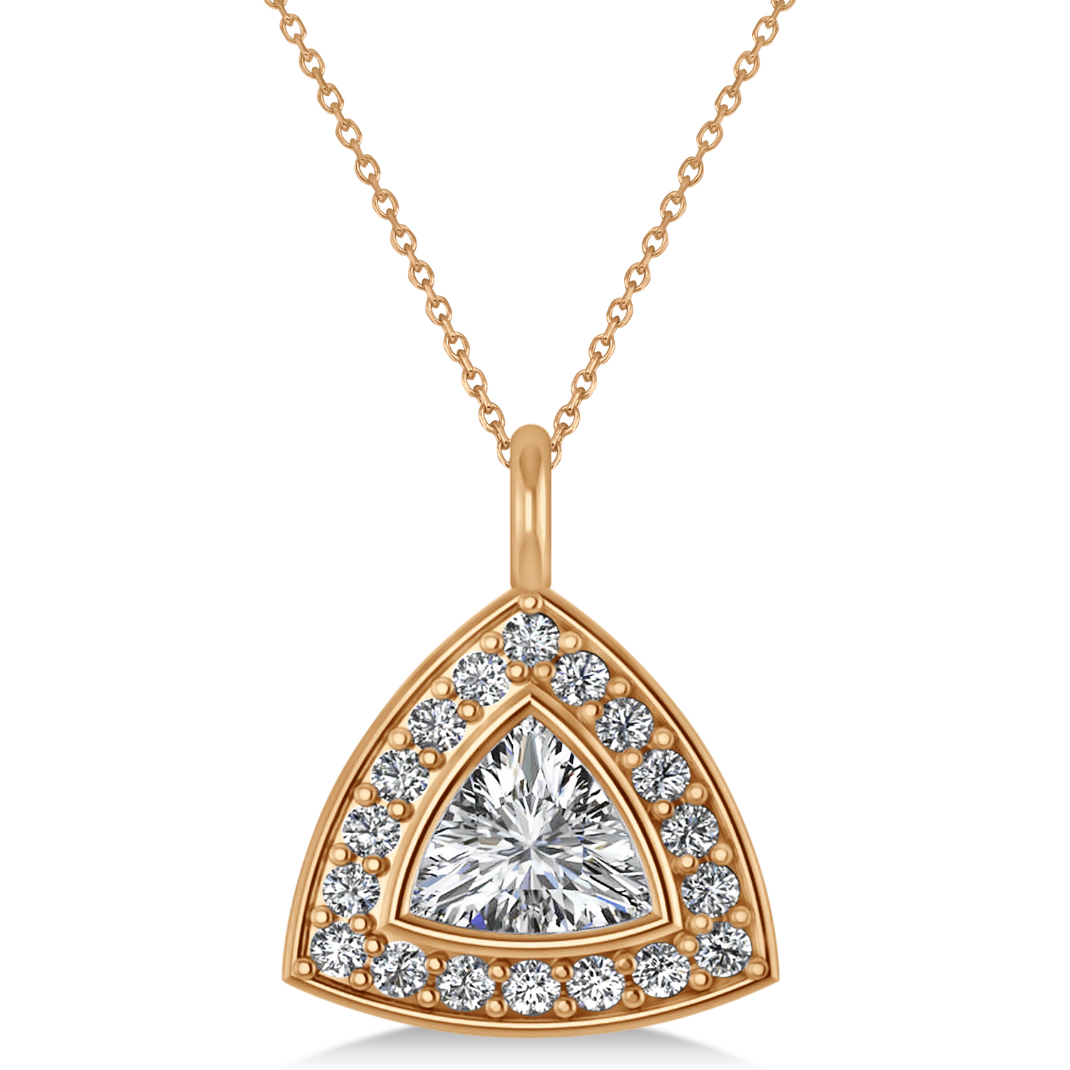 Diamond Trillion Cut Halo Pendant Necklace 14k Rose Gold (1.86ct)