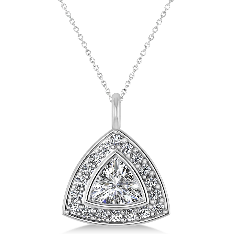Diamond Trillion Cut Halo Pendant Necklace 14k White Gold (1.86ct)