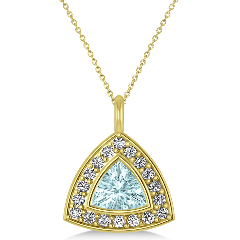 Aquamarine Trillion Cut Halo Pendant 14k Yellow Gold (1.86ct)