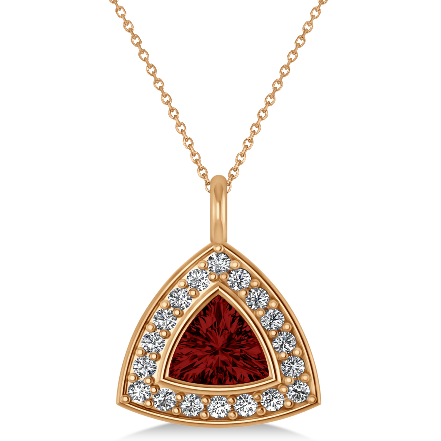 Garnet Trillion Cut Halo Pendant 14k Rose Gold (1.86ct)