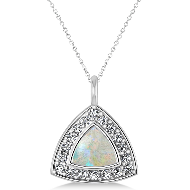 Opal Trillion Cut Halo Pendant Necklace 14k White Gold (1.11ct)
