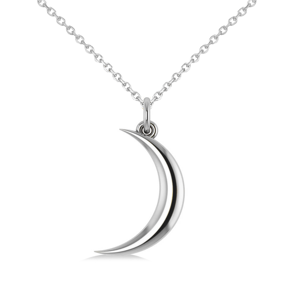 Crescent Moon Pendant Necklace 14K White Gold