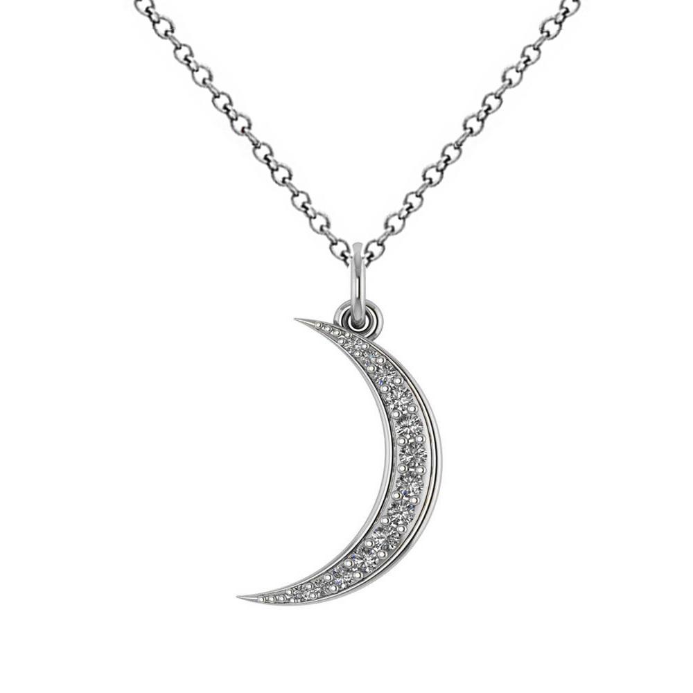 Crescent Moon Shaped Diamond Pendant Necklace 14k White