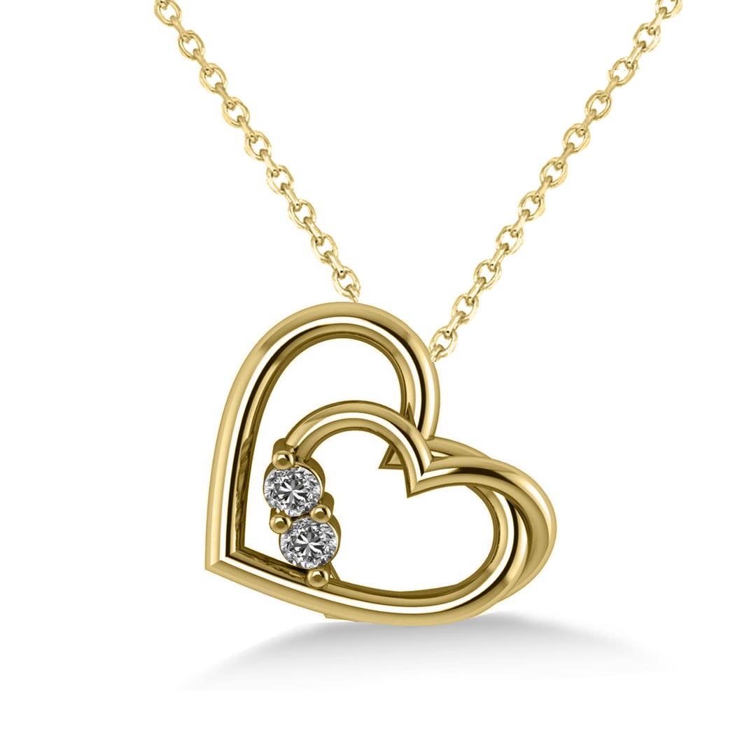 Double Heart Two Stone Diamond Pendant 14k Yellow Gold (0.20ct)