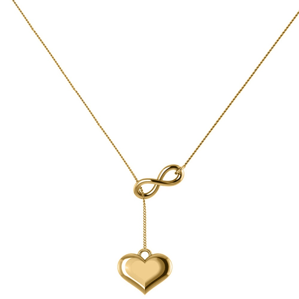 infinity amp heart lariat pendant ynecklace in 14k yellow