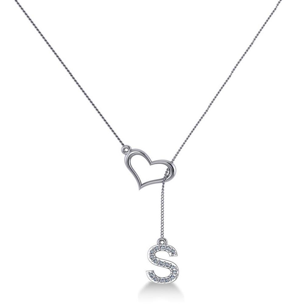 heart diamond initials lariat pendant necklace 14k white. Black Bedroom Furniture Sets. Home Design Ideas