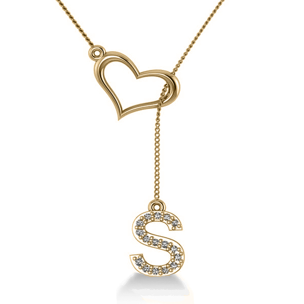 Heart & Diamond Initials Lariat Pendant Necklace 14k Yellow Gold