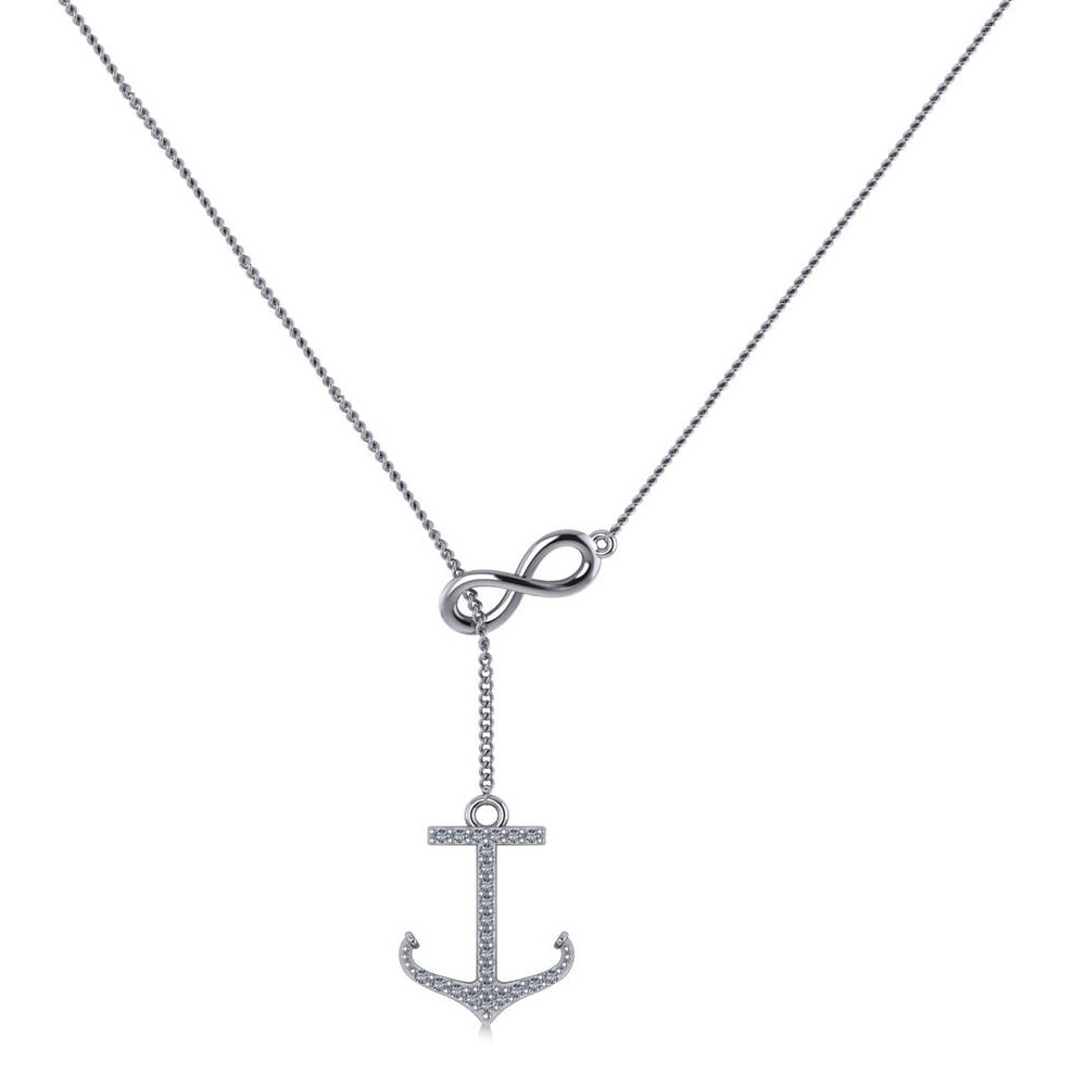 Infinity & Diamond Anchor Lariat Y-Necklace 14k White Gold (0.24ct)