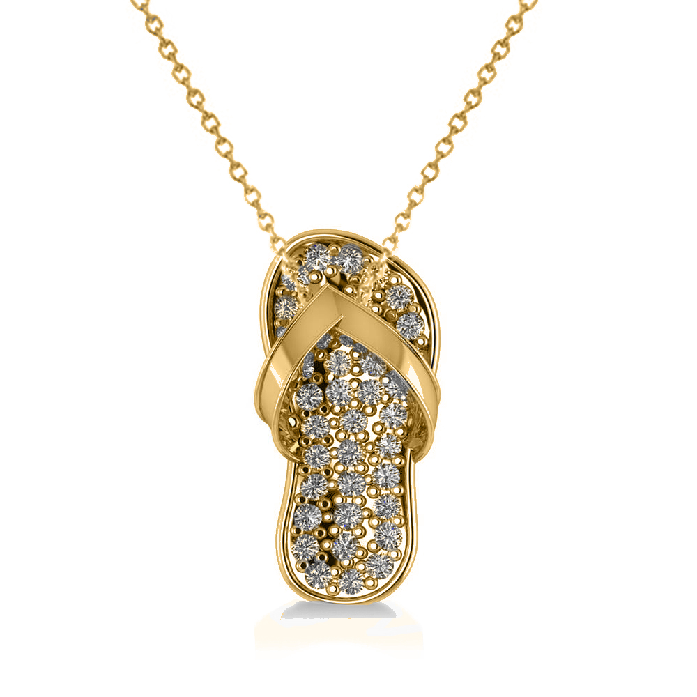 Diamond Summer Flip-Flop Pendant Necklace 14k Yellow Gold (0.76ct)