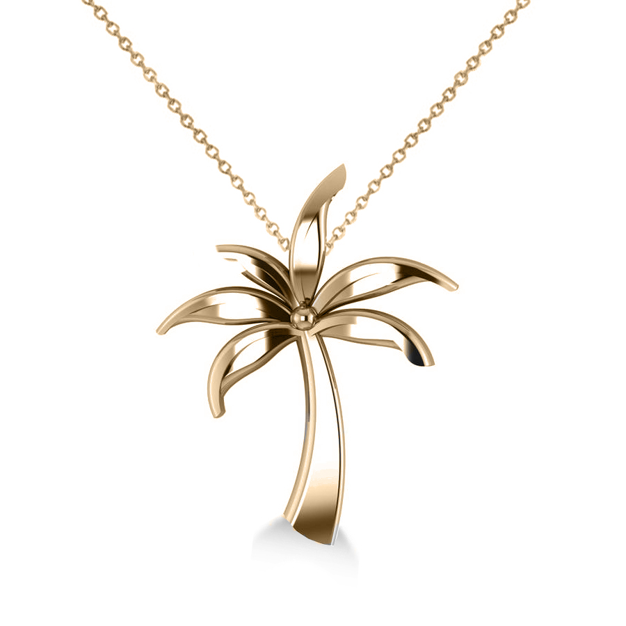 Summer Palm Tree Pendant Necklace in 14k Yellow Gold