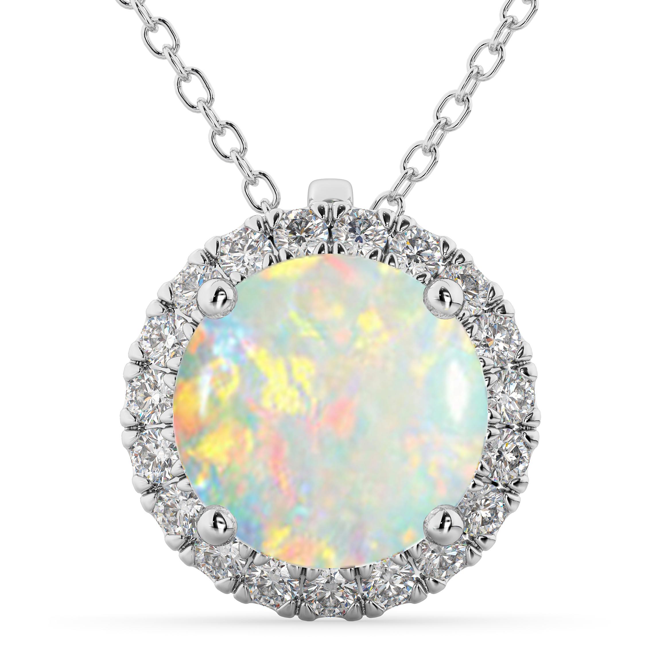 Halo Round Opal & Diamond Pendant Necklace 14k White Gold (2.09ct)