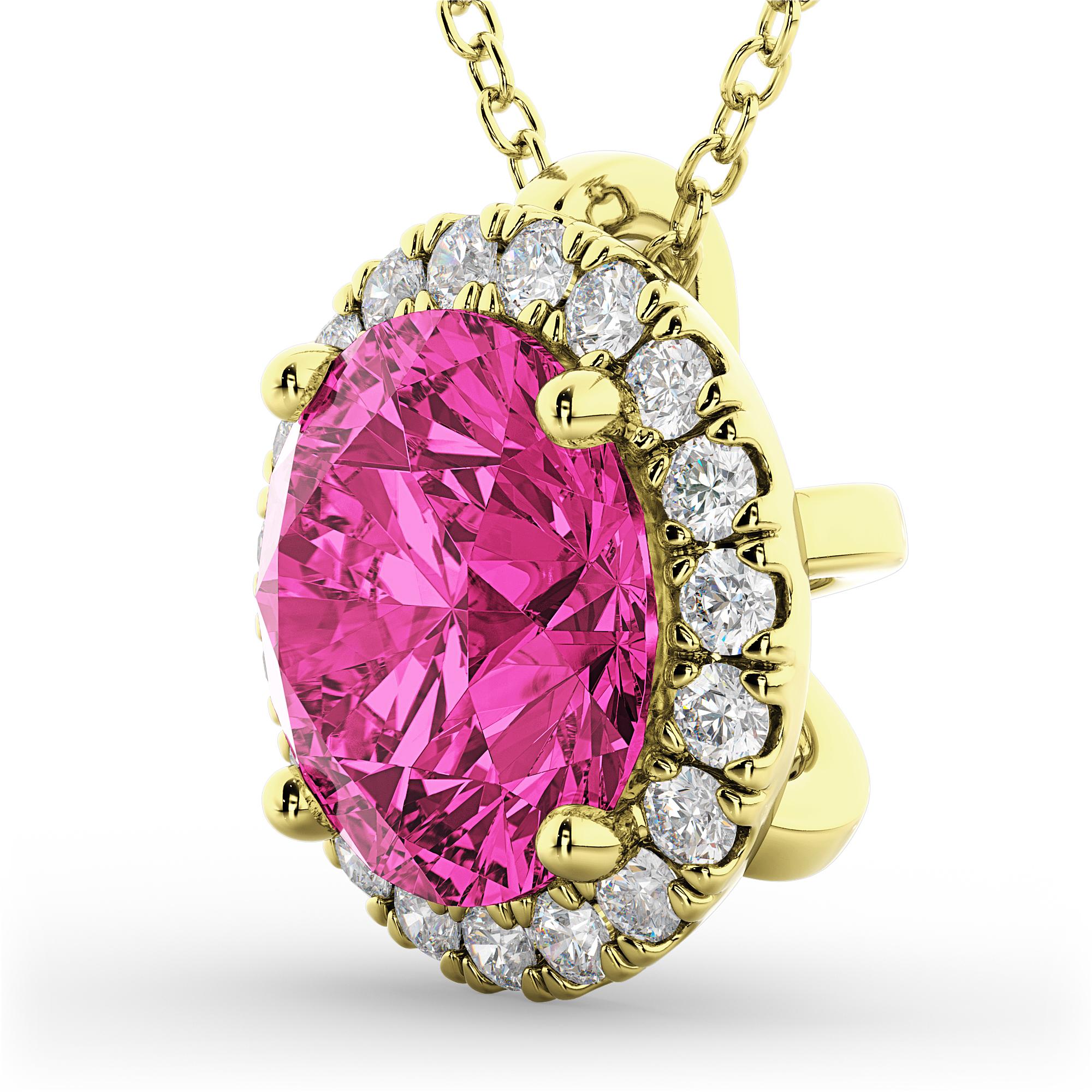 halo round pink tourmaline diamond pendant necklace 14k. Black Bedroom Furniture Sets. Home Design Ideas