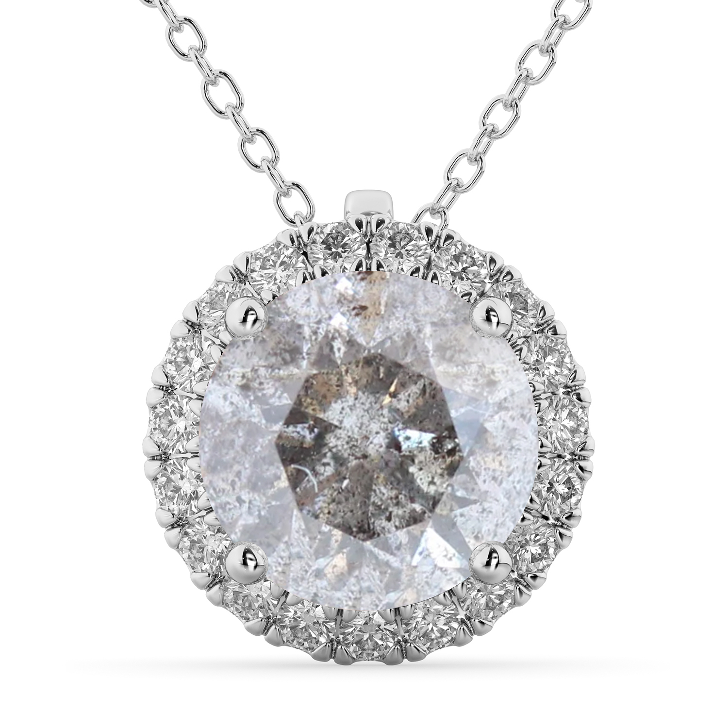 Halo Round Salt & Pepper Diamond Pendant Necklace 14k White Gold (2.29ct)