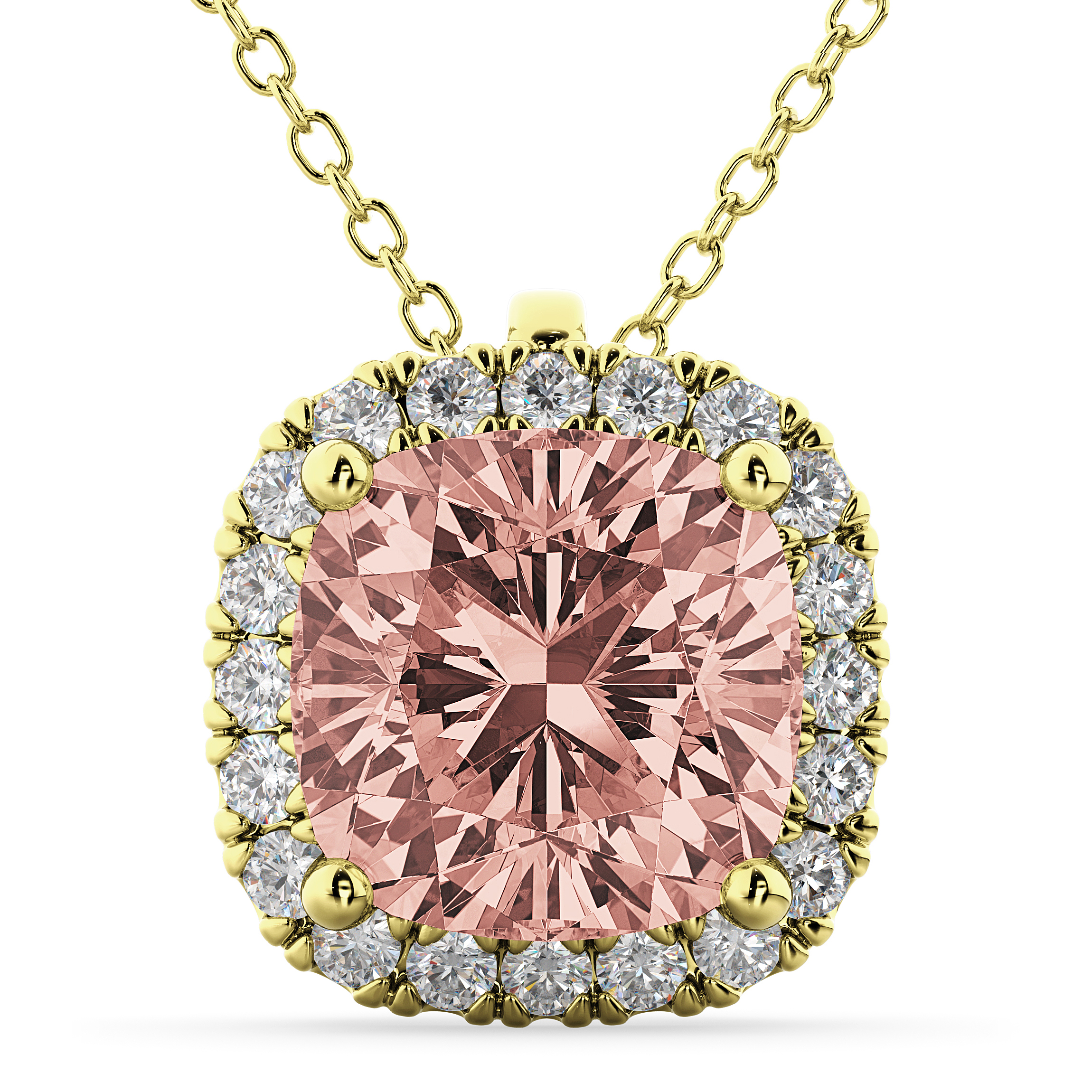 necklace cut with in gold white ladies cushion diamond diamonds and amethyst halo pendant