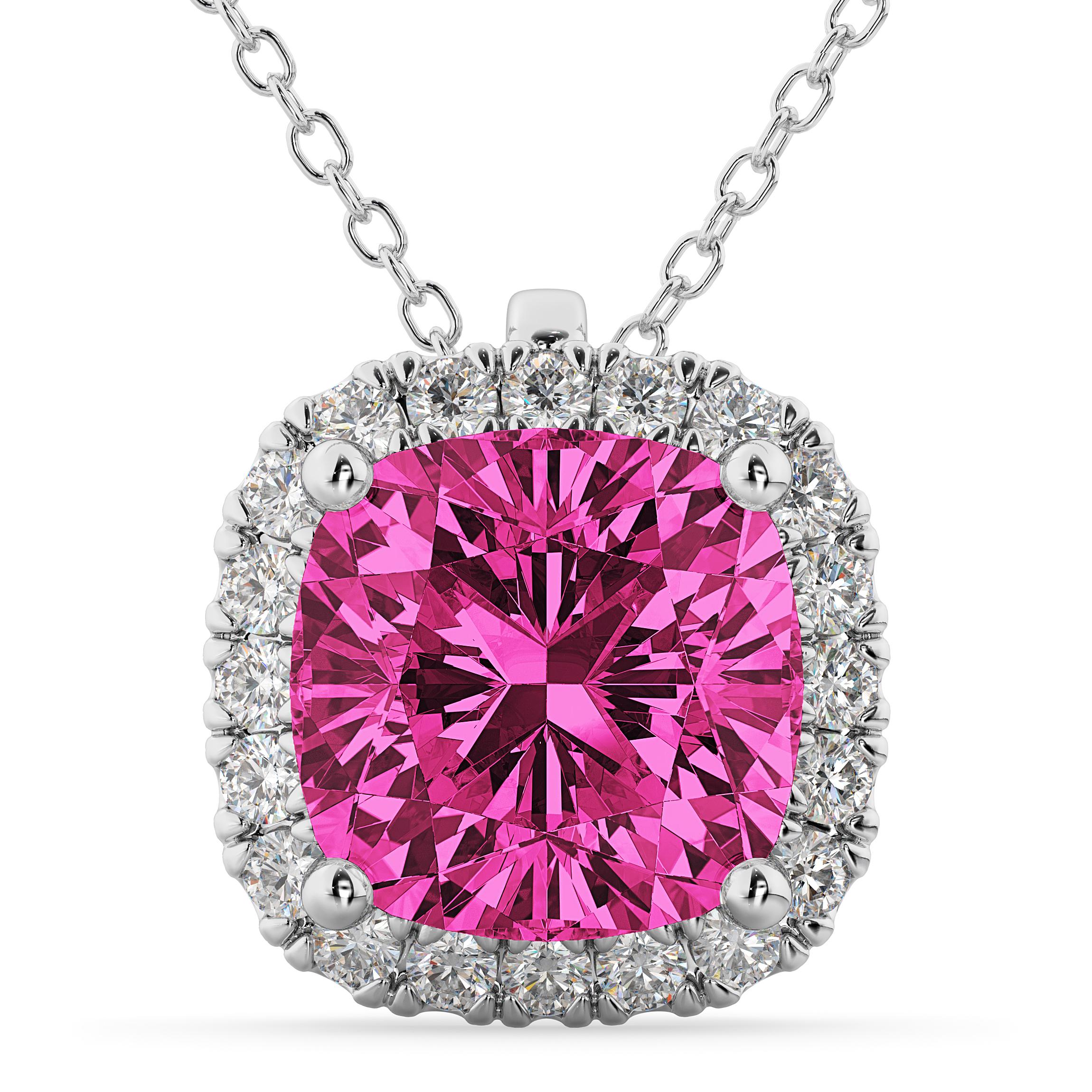 halo pink tourmaline cushion cut pendant necklace 14k. Black Bedroom Furniture Sets. Home Design Ideas
