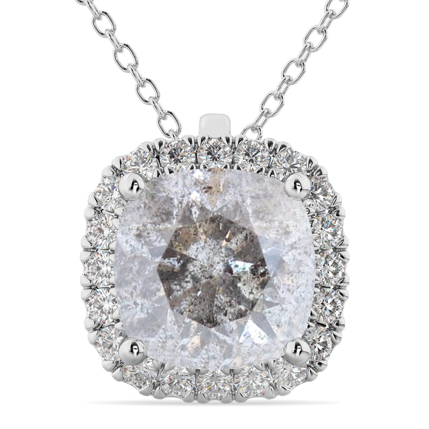 Halo Cushion Cut Salt & Pepper Diamond Necklace 14k White Gold (2.27ct)
