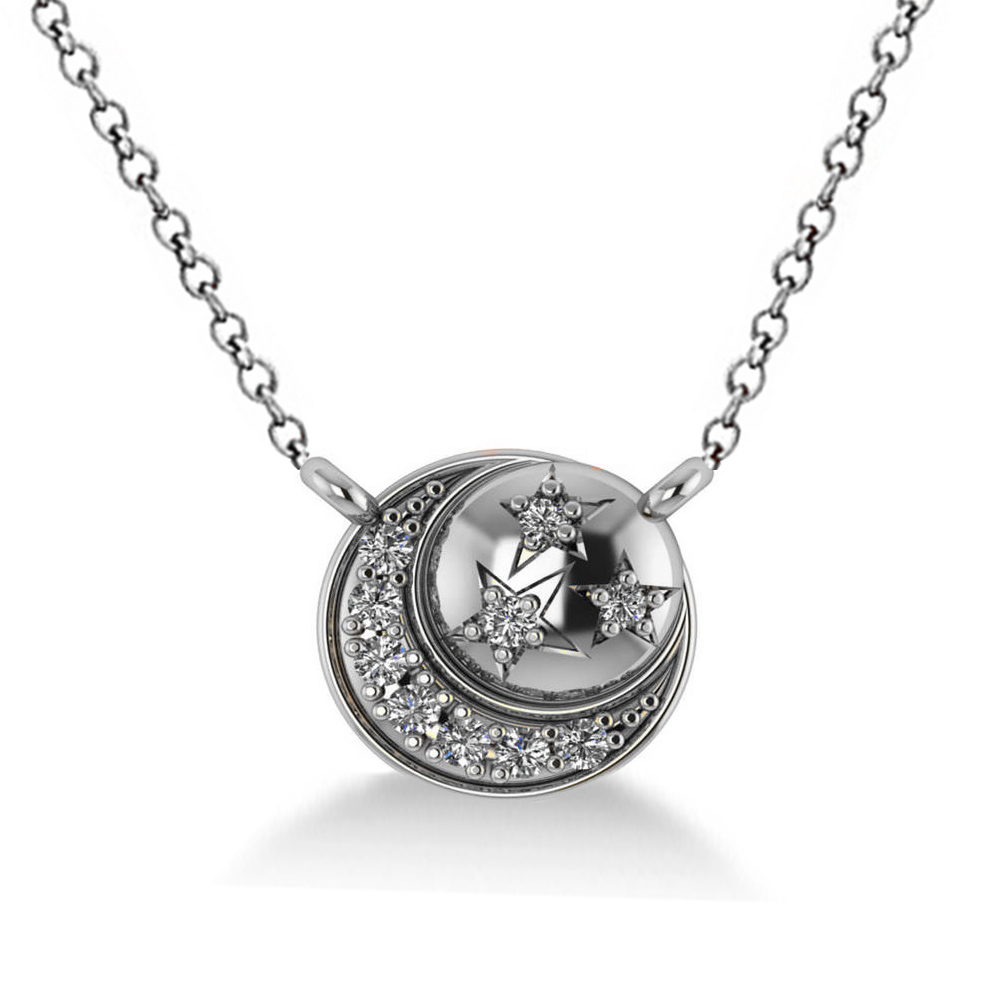 Diamond Crescent Moon & Stars Pendant Necklace 14k White Gold (0.14ct)