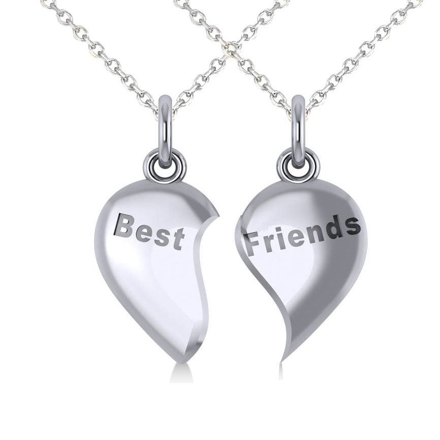 Best Friend Break Apart Pendant Necklace 14k White Gold