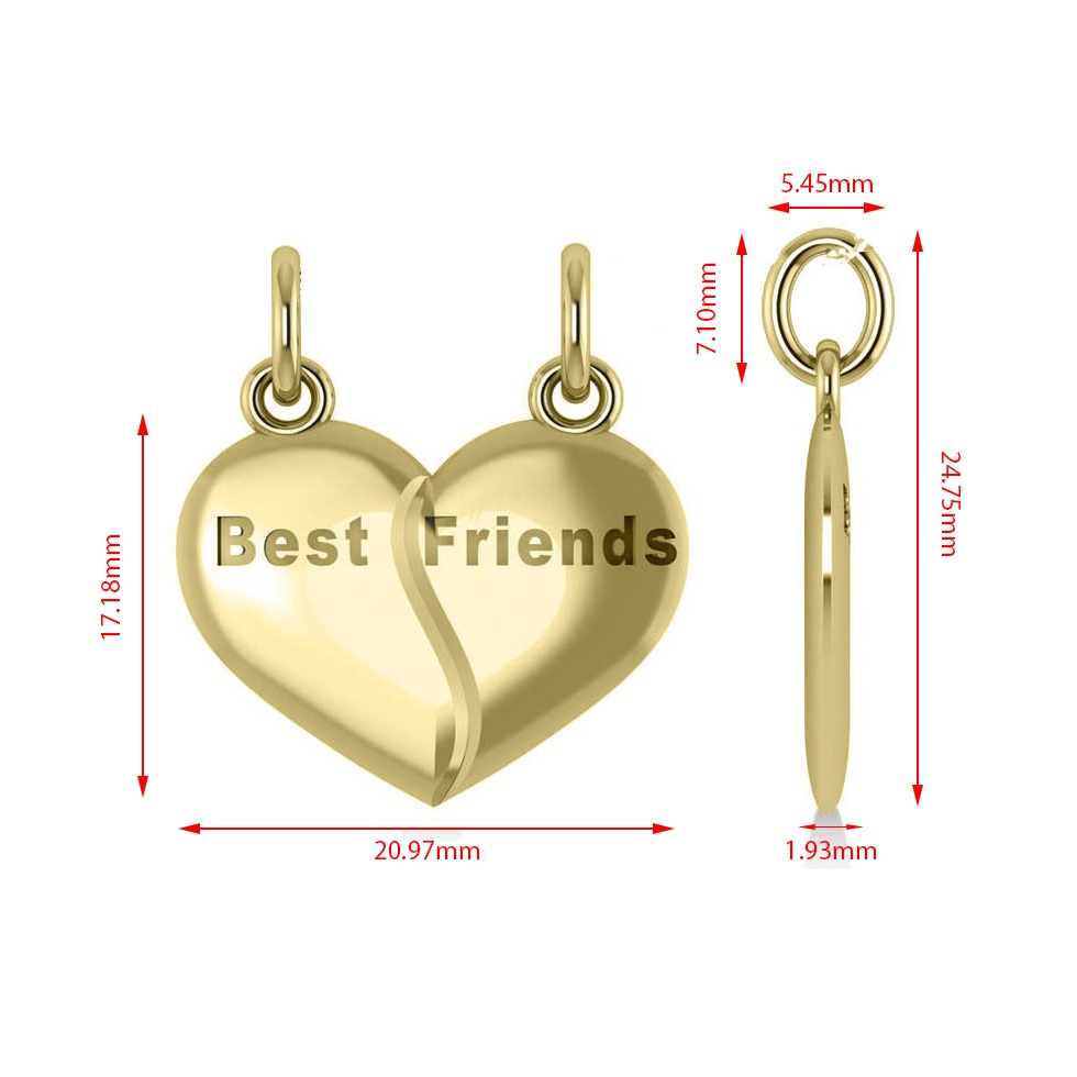 Best Friend Break Apart Pendant Necklace 14k Yellow Gold