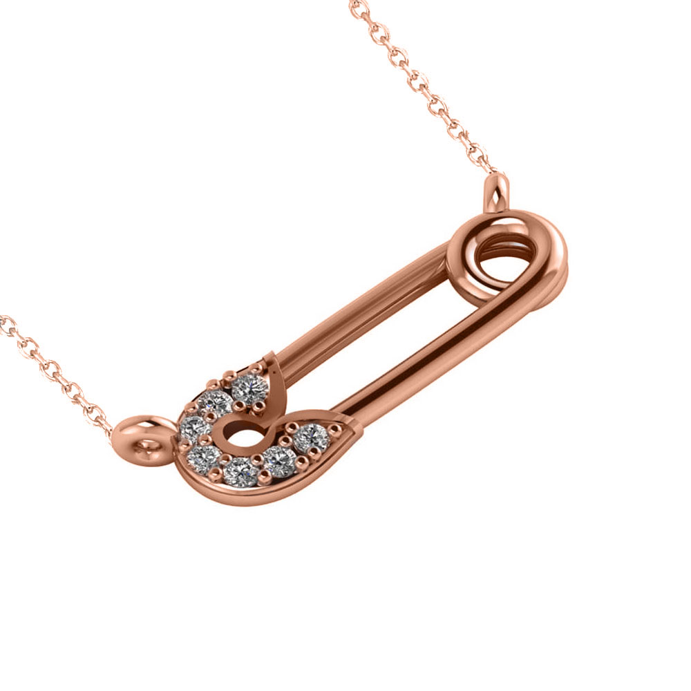 Horizontal Diamond Safety Pin Pendant Necklace 14k Rose Gold (0.07ct)