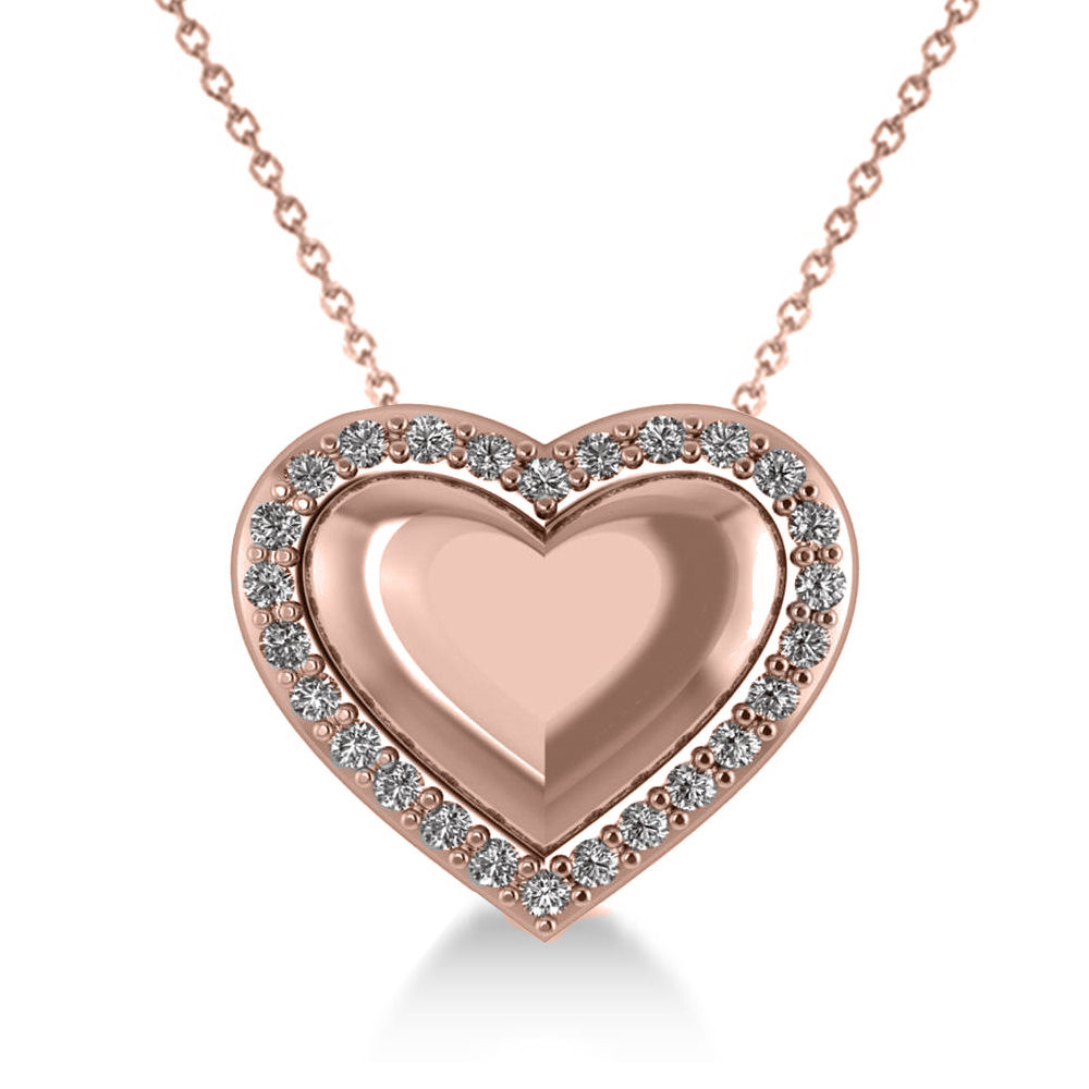 Puffed Heart Diamond Pendant Necklace 14k Rose Gold (0.26ct)
