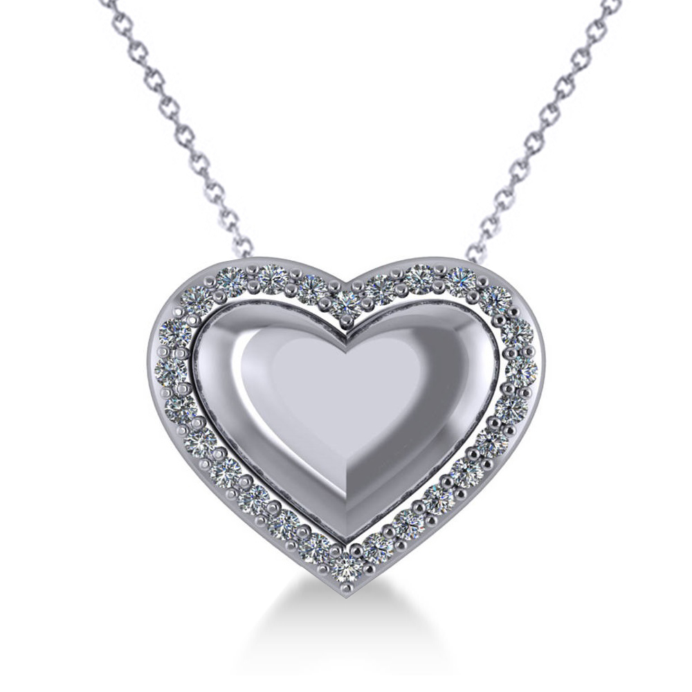 Puffed Heart Diamond Pendant Necklace 14k White Gold (0.26ct)