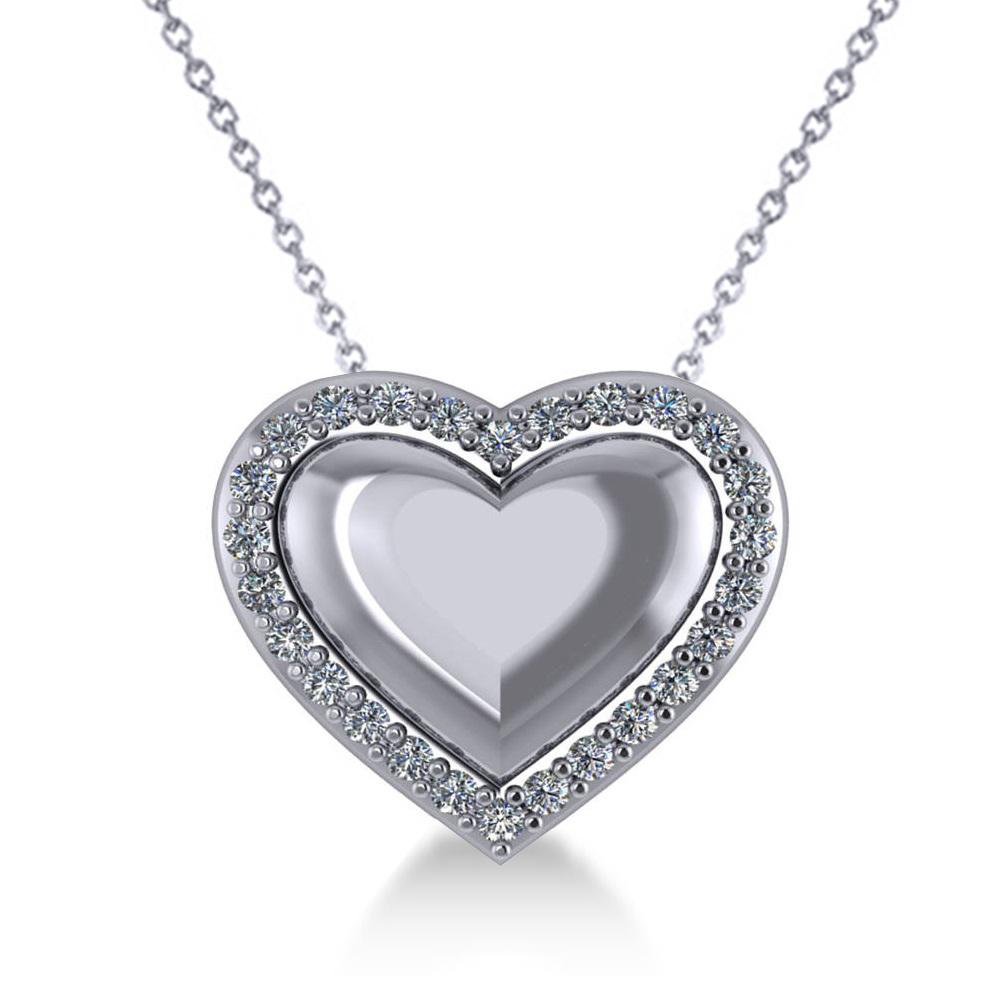 puffed heart diamond pendant necklace 14k white gold 0. Black Bedroom Furniture Sets. Home Design Ideas