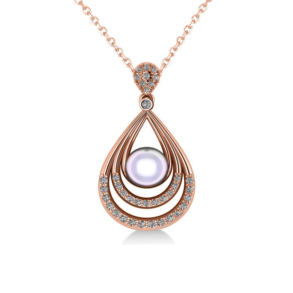 Pearl & Diamond Tear Drop Pendant Necklace 14k Rose Gold (0.46ct)